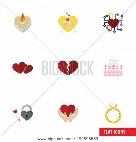 Flat Icon Amour Set Of Divorce, Celebration, Key And Other Vector Objects