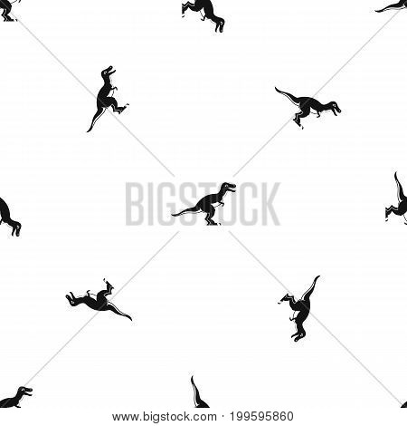 Theropod dinosaur pattern repeat seamless in black color for any design. Vector geometric illustration