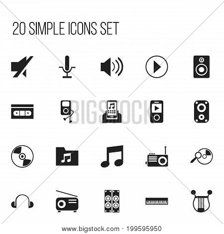 Set Of 20 Editable Multimedia Icons. Includes Symbols Such As Start Audio, Mp3 Player, Musical Gadget And More