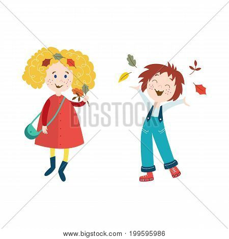 vector girls children wearing autumn clothing set collect autumn falling leaves and throw it up, cartoon isolated illustration on a white background