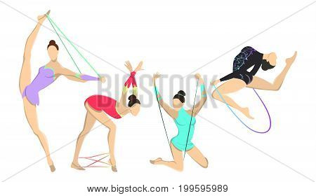Gymnastics with jumping rope. Women in outfit with ropes on white background.