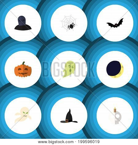 Flat Icon Halloween Set Of Gourd, Cranium, Witch Cap And Other Vector Objects