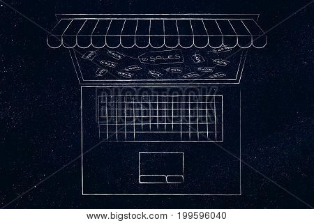 Laptop With Shop Awnings Coming Out Of The Screen And With Rebate Price Tags