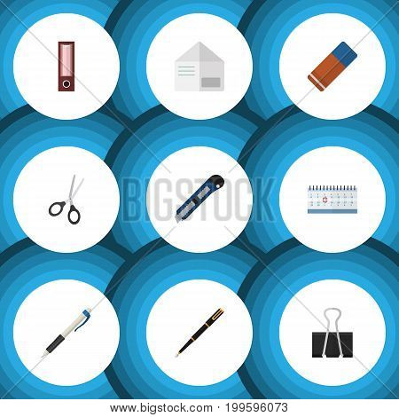 Flat Icon Equipment Set Of Rubber, Clippers, Pencil And Other Vector Objects