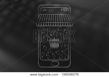Smartphone With Shop Awnings And Shopping Basket Surrounded By Price Tags