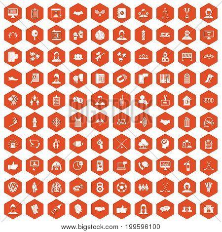100 team icons set in orange hexagon isolated vector illustration