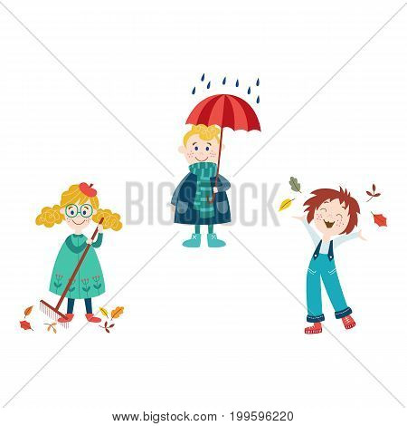 vector boy keeping umbrella under the rain, girls collect autumn falling leaves by rake and throw it up in autumn clothing set, cartoon isolated illustration on a white background Autumn kids activity