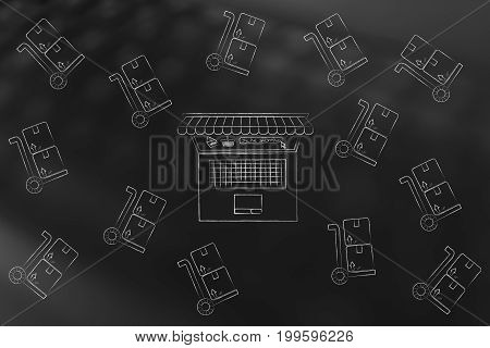 Laptop Surrounded By Delivery Cart With Parcels And With Shop Awnings Coming Out Of The Screen