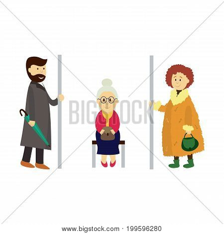 vector adult man, woman holds the handrail, grey-haired grandmother sitting on bench set. Flat cartoon illustration isolated on a white background. Public transport - subway, bus characters concept