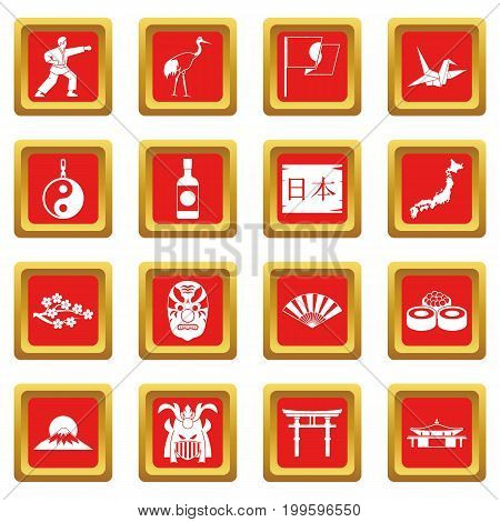 Japan icons set in red color isolated vector illustration for web and any design