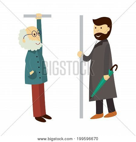 vector old grey-haired man in glasses stays holding handrail, adult man in coat stays keeping umbrella. Flat illustration isolated on a white background. Bus, underground , subway characters concept