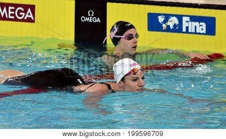 Hong Kong China - Oct 30 2016. Emily SEEBOHM (AUS) and SMITH Regan Elisabeth (USA) after the Women's Backstroke 100m Final. FINA Swimming World Cup Victoria Park Swimming Pool.