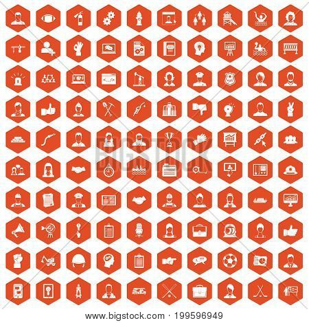 100 team work icons set in orange hexagon isolated vector illustration