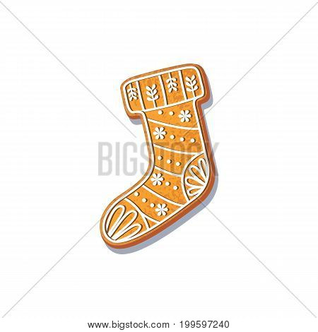 Gingerbread christmas stocking cookie vector isolated illustration on a white background. New year baked candy cartoon sweet cake. Traditional winter holiday home treat