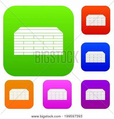 Wooden pallets set icon in different colors isolated vector illustration. Premium collection