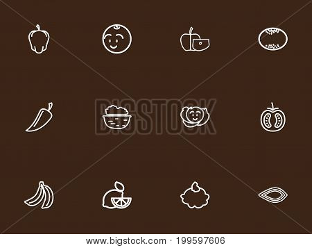 Set Of 12 Editable Vegetable Outline Icons. Includes Symbols Such As Apple Slice, Cole, Lemon And More