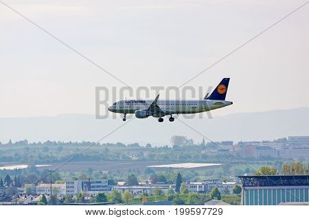 Lufthansa Airplane Airbus A320) During Landing