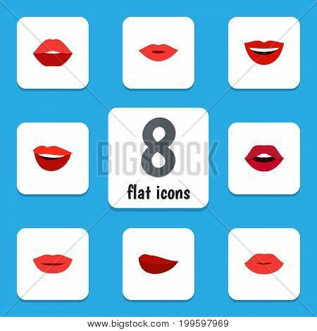 Flat Icon Mouth Set Of Pomade, Lipstick, Teeth And Other Vector Objects