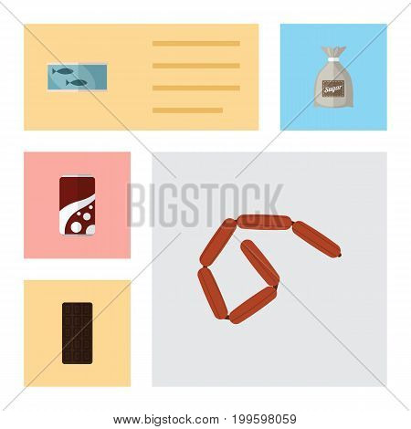 Flat Icon Food Set Of Fizzy Drink, Bratwurst, Confection And Other Vector Objects