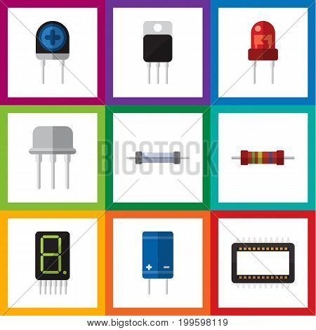 Flat Icon Electronics Set Of Resistor, Display, Transistor And Other Vector Objects