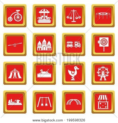 Amusement park icons set in red color isolated vector illustration for web and any design
