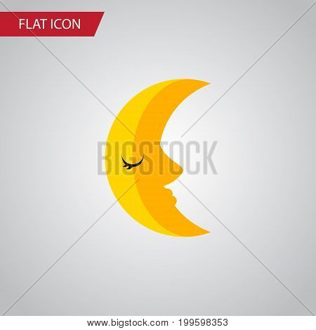 Moon Vector Element Can Be Used For Moon, Crescent, Lunar Design Concept.  Isolated Crescent Flat Icon.