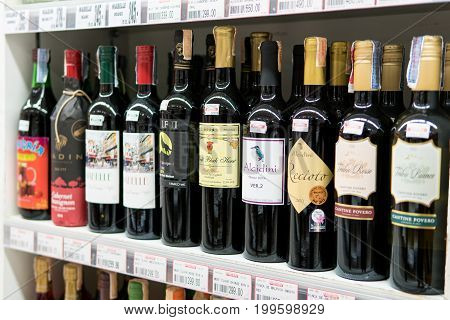 Bangkok, Thailand - August 13, 2017: Shelves of alcoholic drink in a supermarket.