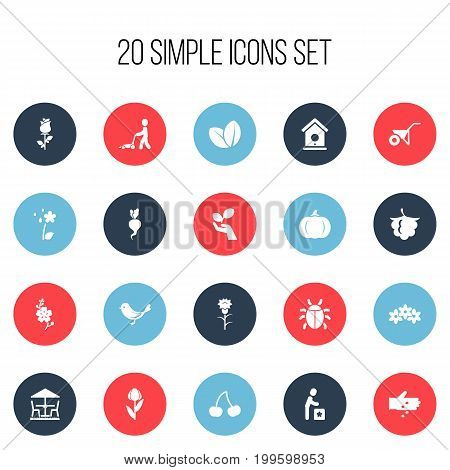 Set Of 20 Editable Agriculture Icons. Includes Symbols Such As Grass Cutting Machine, Gourd, Floral And More