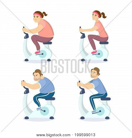 Before and after exercising on the gym bicycle. Man and woman loose weights.