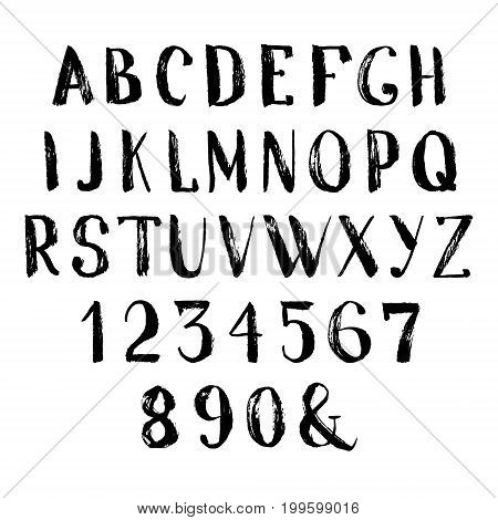 Grunge hand drawn font. Vector alphabet with numbers. Set of brush painted letters.