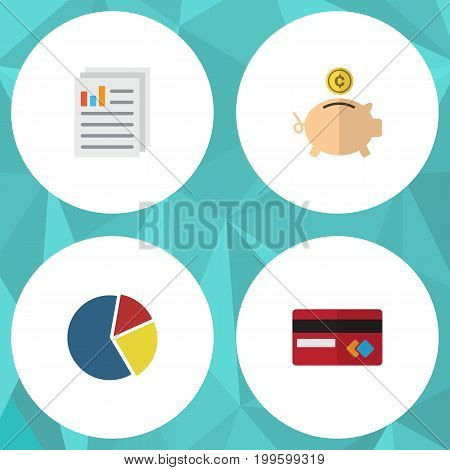 Flat Icon Incoming Set Of Graph, Payment, Money Box And Other Vector Objects