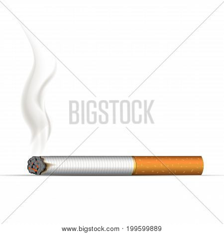 Realistic burning cigarette. Vector Illustration on white background