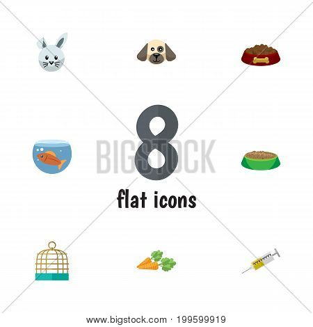 Flat Icon Pets Set Of Bird Prison, Vaccine, Rabbit Meal And Other Vector Objects