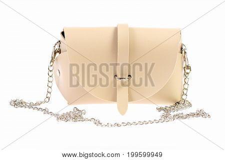 Elegant Beige Handbag With Silver Chain