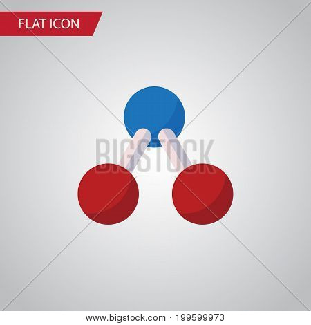 Nuclear Vector Element Can Be Used For Water, Molecule, Nuclear Design Concept.  Isolated Water Molecule Flat Icon.