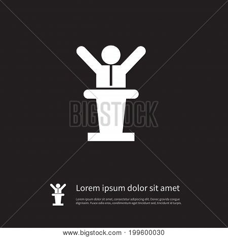 Politician Vector Element Can Be Used For Politician, Tribune, Manager Design Concept.  Isolated Tribune Icon.