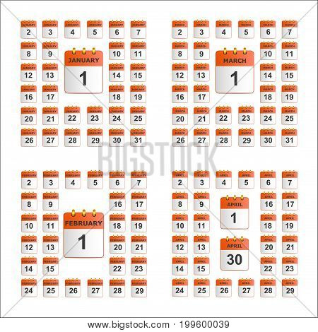 Universal set of wall calendar. The icons in red color. From January to April. The template is perfect for all your events, holidays, as a reminder etc. Vector illustration. Square location.