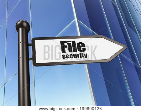 Privacy concept: sign File Security on Building background, 3D rendering