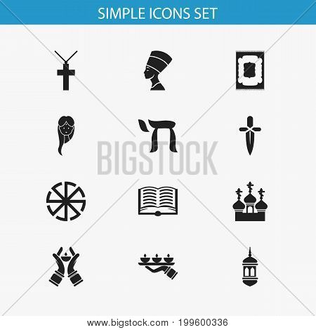 Set Of 12 Editable Faith Icons. Includes Symbols Such As Candle Light, Solar Emblem, Candlestick