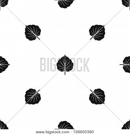 Alder leaf pattern repeat seamless in black color for any design. Vector geometric illustration