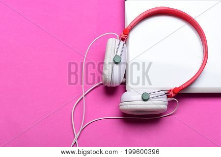 Electronics Isolated On Magenta Pink Background, Top View. Music Concept