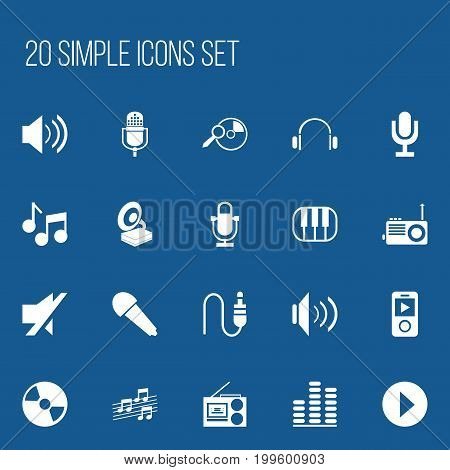 Set Of 20 Editable Song Icons. Includes Symbols Such As Frequency, Microphone, Melody Seeking And More