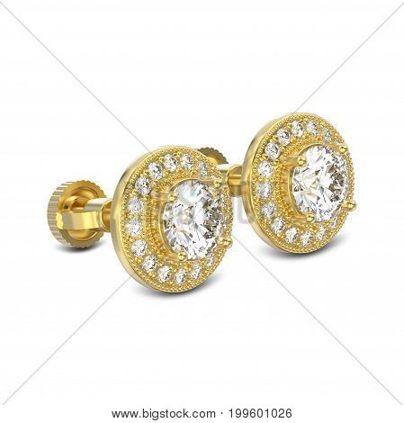 3D illustration two yellow gold diamonds screw post sterling stud earrings with reflection on a white background