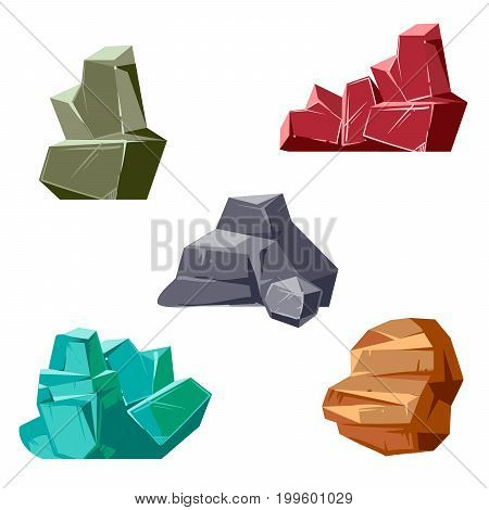 Set of rocks and crystals. Cartoon isometric 3D flat style mineral crystal and rock stone, vector illustration