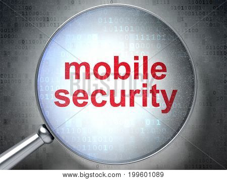 Safety concept: magnifying optical glass with words Mobile Security on digital background, 3D rendering