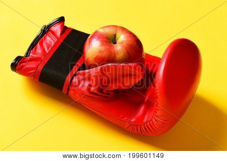 Pair Of Leather Boxing Sportswear With Juicy Apple. Boxing Gloves