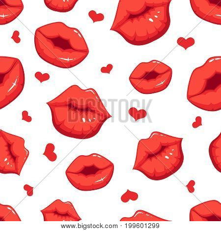 Print marks of female red lips. Vector seamless pattern with heart love and red lips kiss