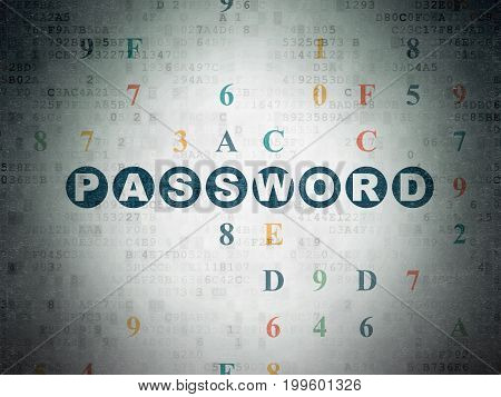 Safety concept: Painted blue text Password on Digital Data Paper background with Hexadecimal Code