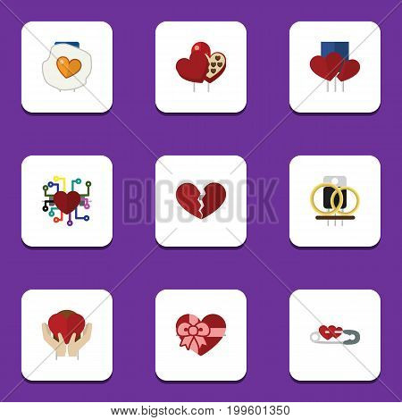 Flat Icon Passion Set Of Scrambled, Closed, Present And Other Vector Objects