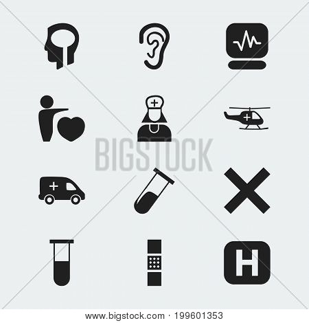 Set Of 12 Editable Hospital Icons. Includes Symbols Such As Test Tube, Emergency, Pulse And More